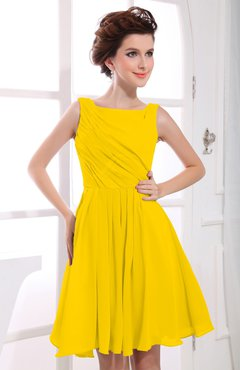 Yellow Casual A-line Sabrina Zipper Chiffon Ruching Party Dresses