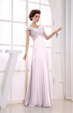 Blush Vintage Empire Short Sleeve Zipper Chiffon Floor Length Bridesmaid Dresses