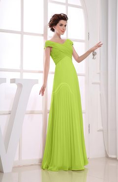 Bright Green Vintage Empire Short Sleeve Zipper Chiffon Floor Length Bridesmaid Dresses