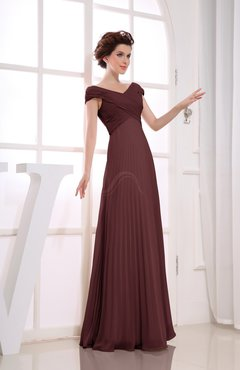 Burgundy Vintage Empire Short Sleeve Zipper Chiffon Floor Length Bridesmaid Dresses