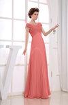 Vintage Empire Short Sleeve Zipper Chiffon Floor Length Bridesmaid Dresses
