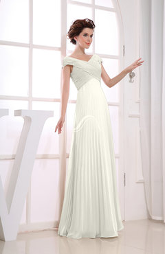 Ivory Vintage Empire Short Sleeve Zipper Chiffon Floor Length Bridesmaid Dresses