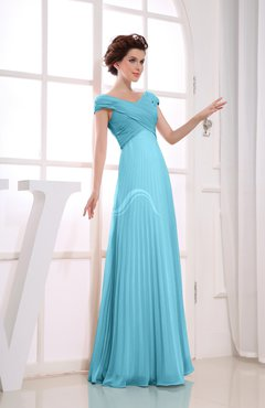 Light Blue Vintage Empire Short Sleeve Zipper Chiffon Floor Length Bridesmaid Dresses