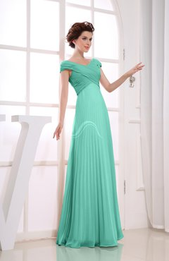 Mint Green Vintage Empire Short Sleeve Zipper Chiffon Floor Length Bridesmaid Dresses