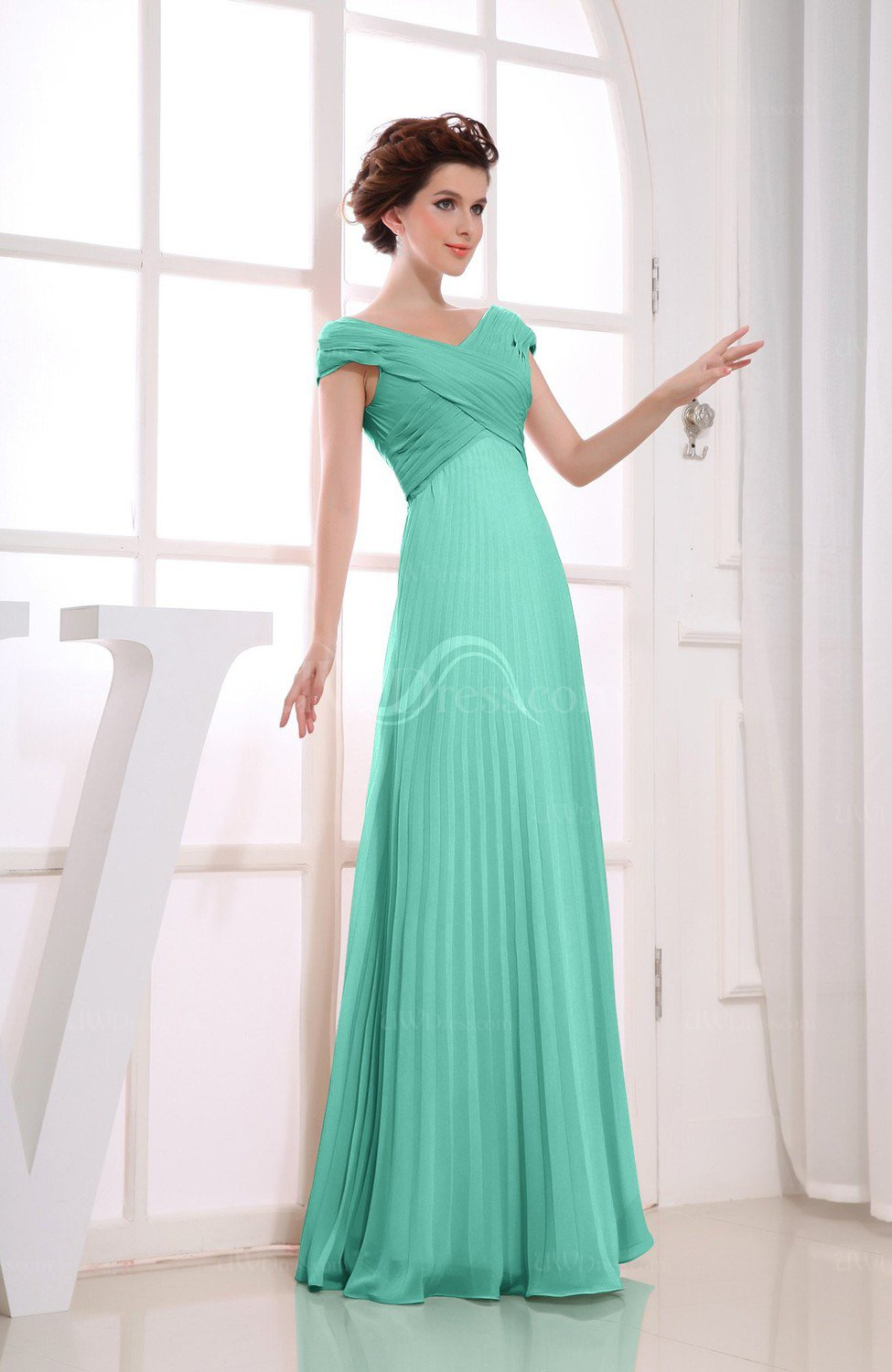 Mint Green Vintage Empire Short Sleeve Zipper Chiffon Floor Length ...