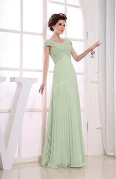 Pale Green Vintage Empire Short Sleeve Zipper Chiffon Floor Length Bridesmaid Dresses
