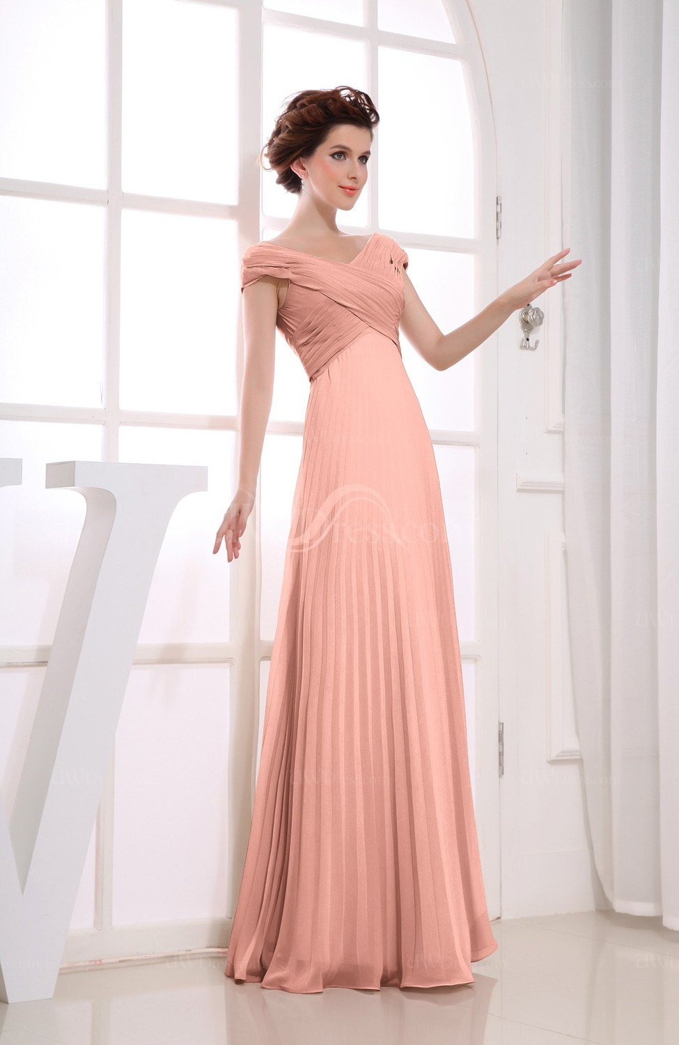 Peach Vintage Empire Short Sleeve Zipper Chiffon Floor Length Bridesmaid Dresses