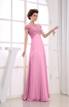 Pink Vintage Empire Short Sleeve Zipper Chiffon Floor Length Bridesmaid Dresses