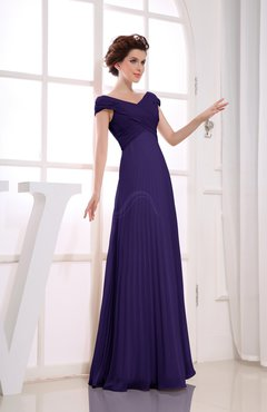 Royal Purple Vintage Empire Short Sleeve Zipper Chiffon Floor Length Bridesmaid Dresses