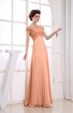 Salmon Vintage Empire Short Sleeve Zipper Chiffon Floor Length Bridesmaid Dresses