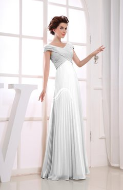 White Vintage Empire Short Sleeve Zipper Chiffon Floor Length Bridesmaid Dresses