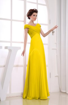 Yellow Vintage Empire Short Sleeve Zipper Chiffon Floor Length Bridesmaid Dresses
