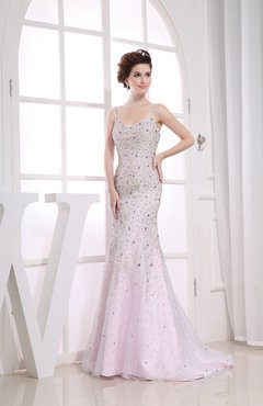 Blush Gorgeous Column Backless Satin Sequin Evening Dresses