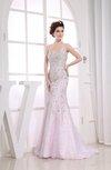 Gorgeous Column Backless Satin Sequin Evening Dresses