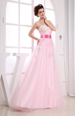 Classic Sleeveless Zip up Floor Length Appliques Prom Dresses