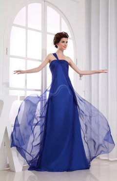Electric Blue Romantic One Shoulder Sleeveless Backless Court Train Bridesmaid Dresses