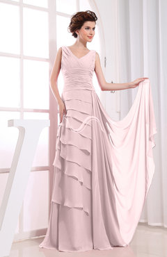 Blush Elegant A-line Sleeveless Zip up Chiffon Floor Length Evening Dresses