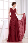 Elegant A-line Sleeveless Zip up Chiffon Floor Length Evening Dresses