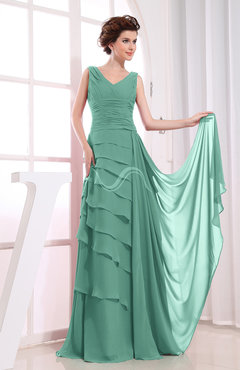 Mint Green Elegant A-line Sleeveless Zip up Chiffon Floor Length Evening Dresses