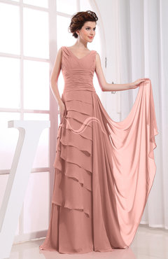 Peach Elegant A-line Sleeveless Zip up Chiffon Floor Length Evening Dresses