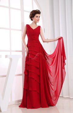 Red Elegant A-line Sleeveless Zip up Chiffon Floor Length Evening Dresses