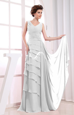 White Elegant A-line Sleeveless Zip up Chiffon Floor Length Evening Dresses