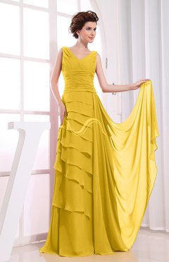 Yellow Elegant A-line Sleeveless Zip up Chiffon Floor Length Evening Dresses