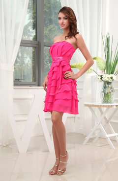 Romantic Sleeveless Zip up Chiffon Mini Bridesmaid Dresses