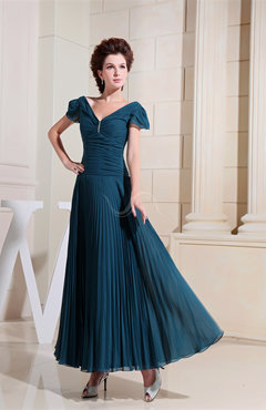 Vintage V-neck Short Sleeve Zipper Ruching Prom Dresses