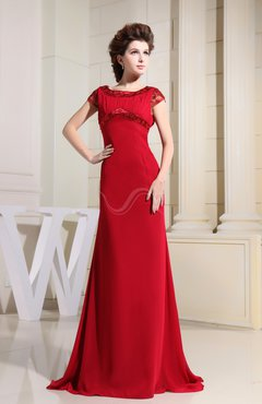 Red Classic A-line Boat Zip up Ruching Prom Dresses