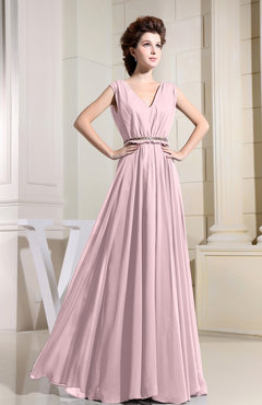 Blush Casual V-neck Sleeveless Chiffon Pleated Bridesmaid Dresses