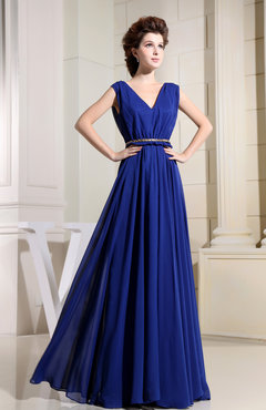 Electric Blue Casual V-neck Sleeveless Chiffon Pleated Bridesmaid Dresses