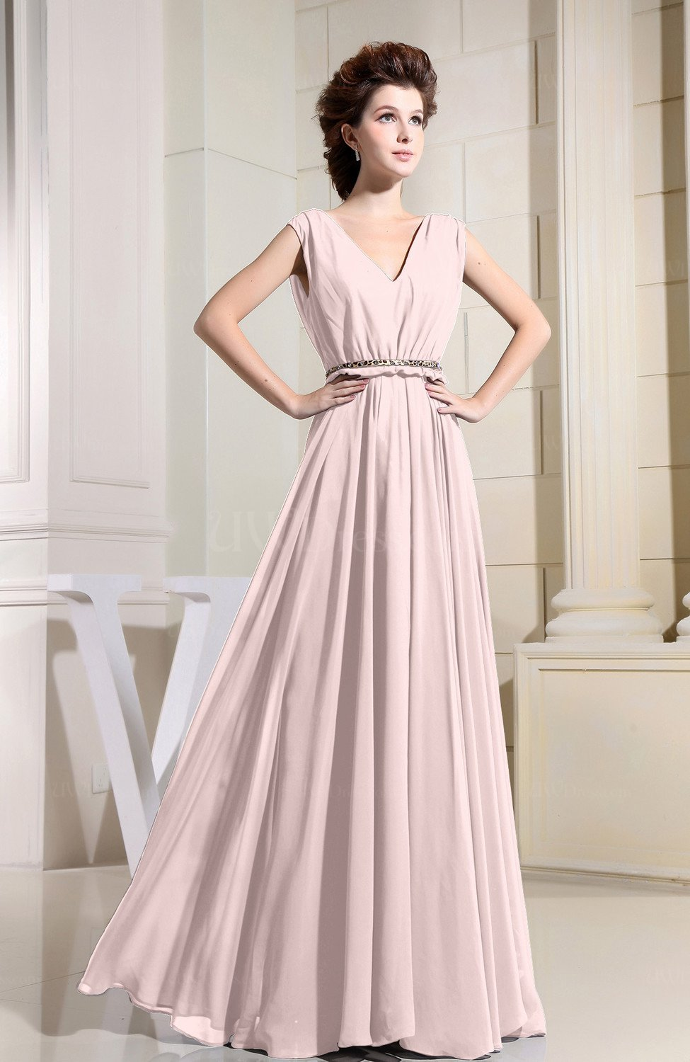 Pink Informal Wedding Dresses : Light pink casual v neck sleeveless chiffon pleated
