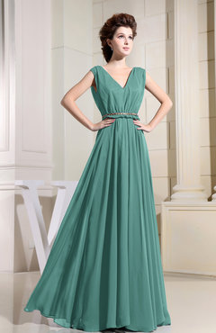 Mint Green Casual V-neck Sleeveless Chiffon Pleated Bridesmaid Dresses
