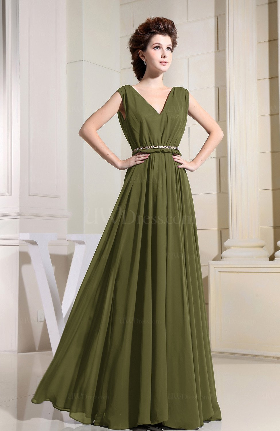 Olive Green Color Bridesmaid Dresses Vintage - UWDress.com