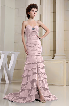 Blush Romantic Zip up Chiffon Chapel Train Rhinestone Prom Dresses