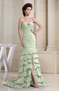 Pale Green Romantic Zip up Chiffon Chapel Train Rhinestone Prom Dresses