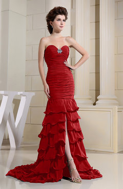 Formal Dress on Red Romantic Zip Up Chiffon Chapel Train Rhinestone Prom Dresses