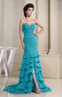 Teal Romantic Zip up Chiffon Chapel Train Rhinestone Prom Dresses