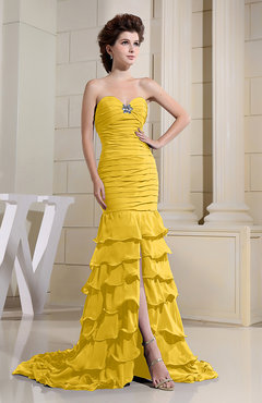 Yellow Romantic Zip up Chiffon Chapel Train Rhinestone Prom Dresses