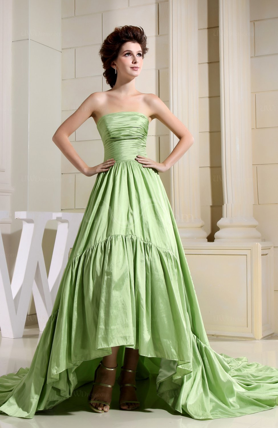 Disney Princess Church A-line Strapless Taffeta Tea Length Bridal ...