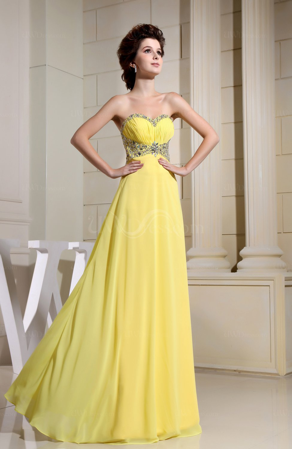 Pale yellow modern a line sweetheart sleeveless chiffon for Yellow dresses for weddings