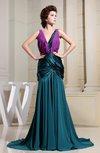 Modest Column V-neck Court Train Ruching Evening Dresses