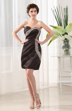 Chocolate Brown Modern Sheath Sweetheart Zip up Paillette Bridesmaid Dresses