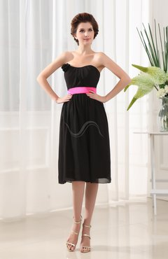 Black Plain Strapless Sleeveless Chiffon Knee Length Graduation Dresses