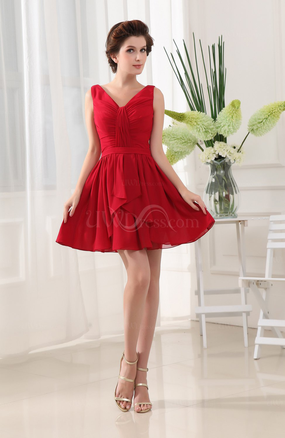 Red classic a line sleeveless zip up short ruching for Short red wedding dresses