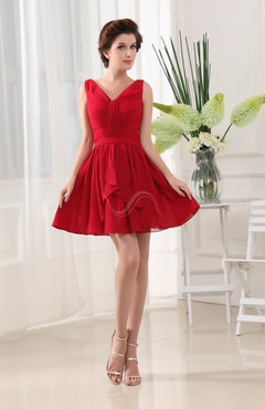 Red Classic A-line Sleeveless Zip up Short Ruching Bridesmaid Dresses
