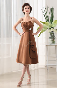 Amber Modest Spaghetti Sleeveless Satin Appliques Bridesmaid Dresses