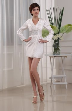 Classic V-neck Long Sleeve Elastic Woven Satin Mini Homecoming Dresses