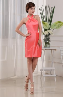 Coral Plain Column Sleeveless Zipper Taffeta Short Prom Dresses